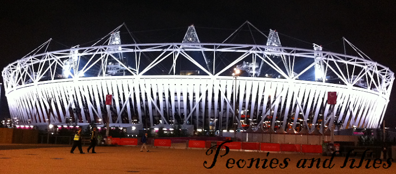 London 2012, London 2012 olympics, London 2012 olympic stadium, London 2012 olympic stadium nighttime, peonies and lilies, London 2012 olympic park, London 2012 stratford