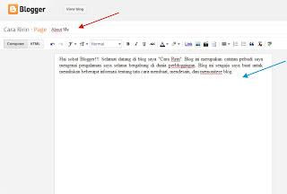 Cara Membuat Halaman Tentang Saya di Blog
