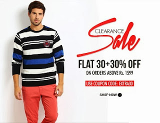 Clearance Sale: Flat 30% + Flat Additional 30% off on Min Purchase of Rs.1599 at Myntra