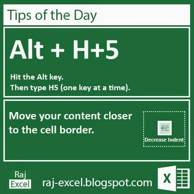 Microsoft Excel Short Cut Keys: Alt + H+5
