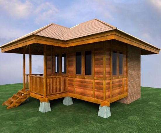 contoh desain rumah kayu minimalis elegan dan indah
