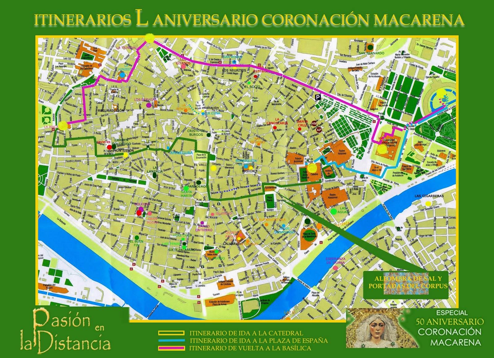 HORARIOS E ITINERARIOS 50 ANIVERSARIO CORONACIÓN  MACARENA