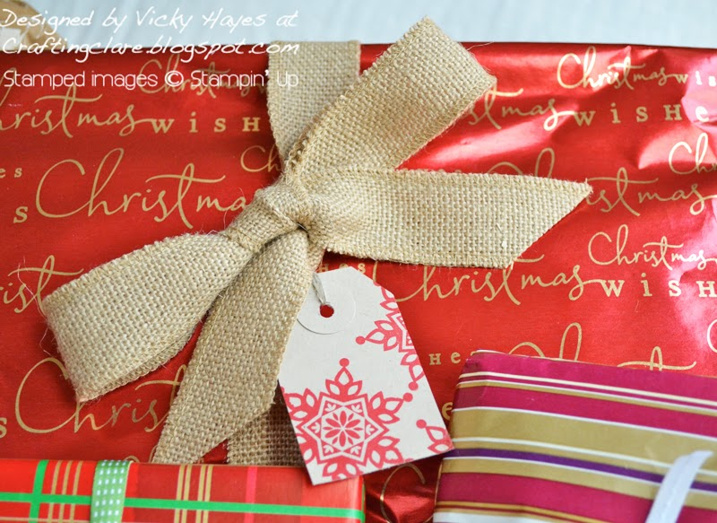 large gift wrapped with burlap ribbon and Festive Flurry from Stampin' Up and Crafting Clare