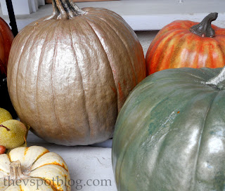 metallic pumpkins, fall, autumn
