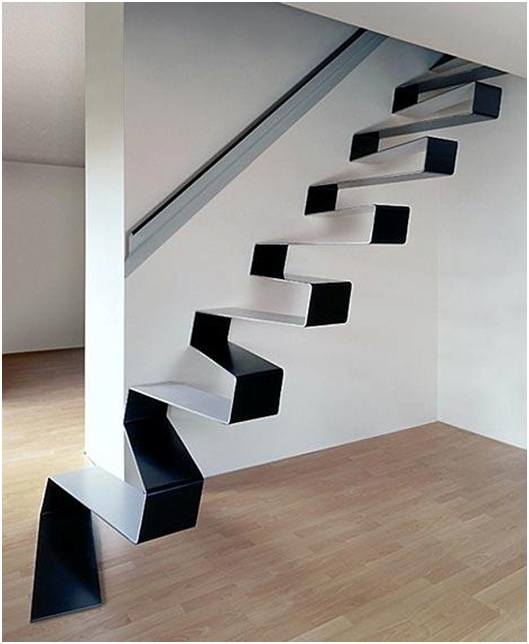A stairway design made of a unique piece of metal