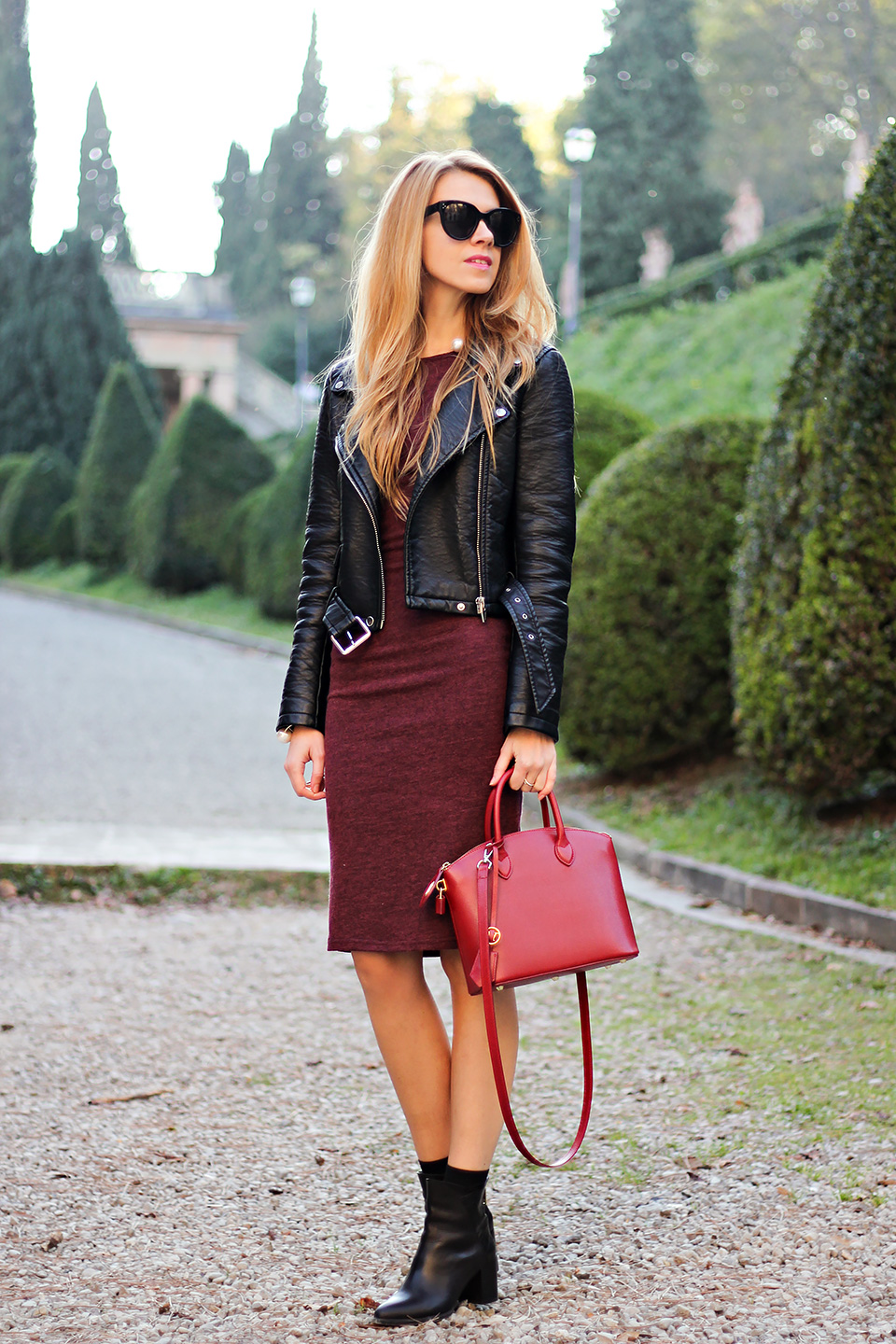 burgundy bodycon dress, leather jacket, red mini bag, fall outfit, fashion blog
