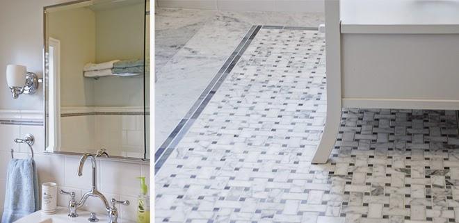 Rambling Renovators | new traditional bathroom black white marble floor subway tile