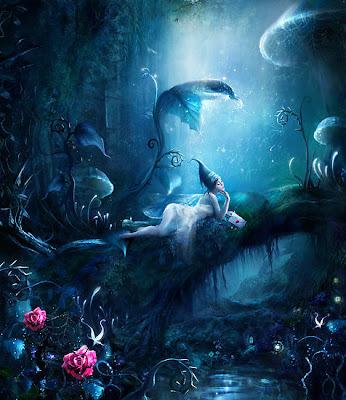 Chica enamorada en un mundo de fantasía