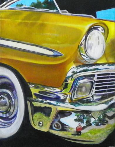 Mary opat art car show reflections vintage car oil for Auto painting az