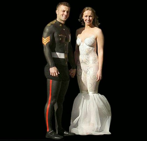omg see photos of weird body revealing wedding dresses With body paint wedding dress