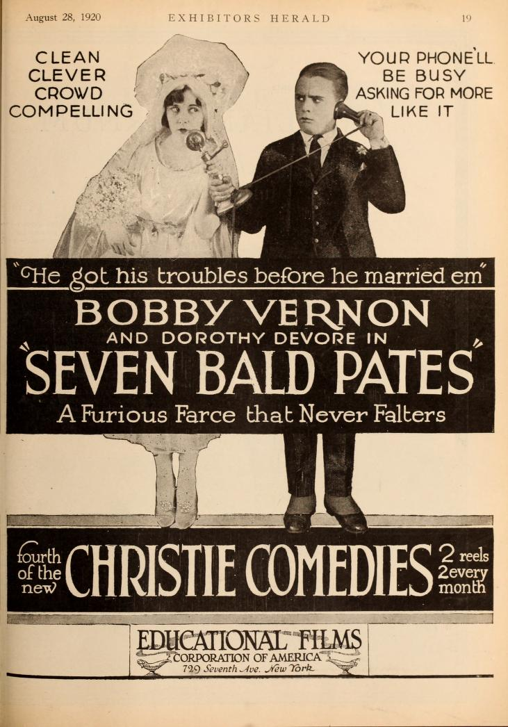 Seven bald pates 1920 movie for Farcical films