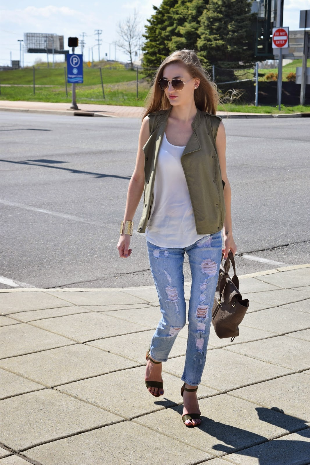 Wearing Nordstrom Sun and Shadow Drapey Denim Vest, Nordstrom STS Blue destroyed denim jeans, Shop Prima Donna Two Tone Ankle Strap Heels, Weekend Casual Look
