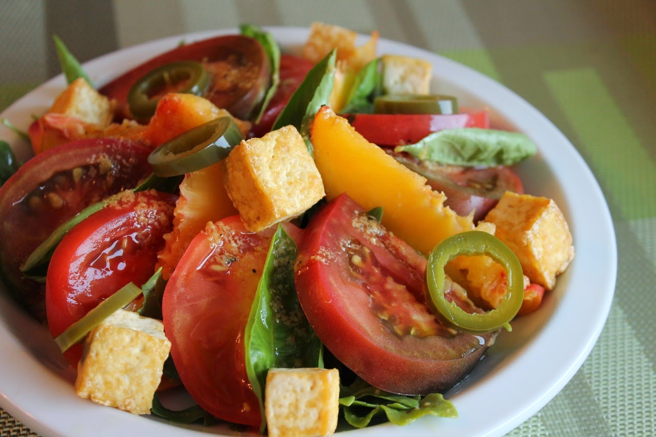 Peach and Tomato Salad with Tofu