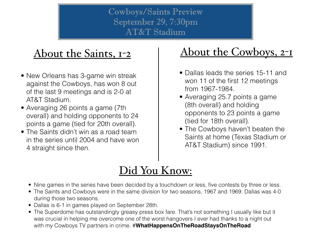 cowboys/saints preview, cowboys saints series history, cowboys saints 2014