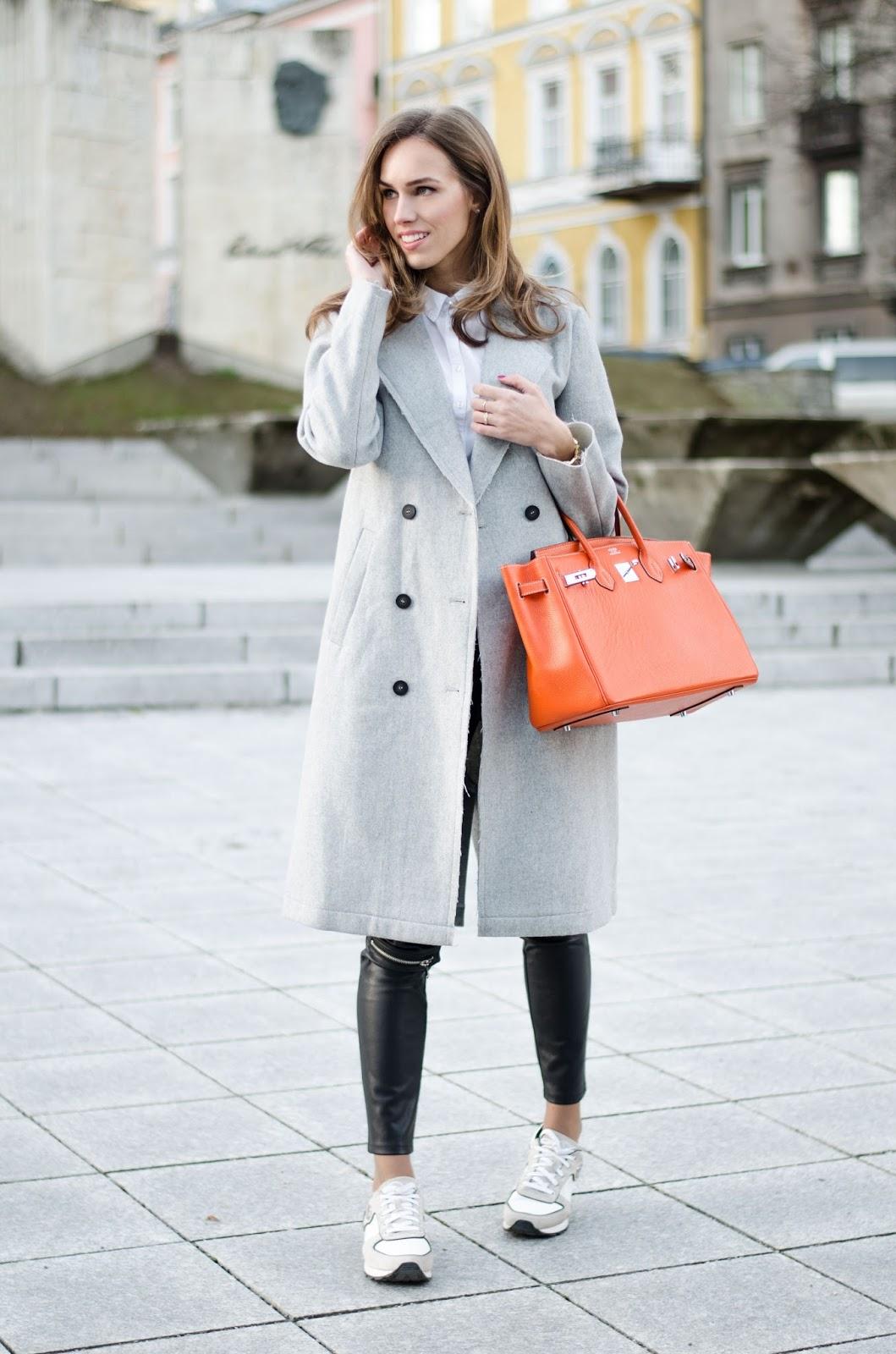 kristjaana mere vila gray coat armani sneakers hermes birkin bag winter outfit