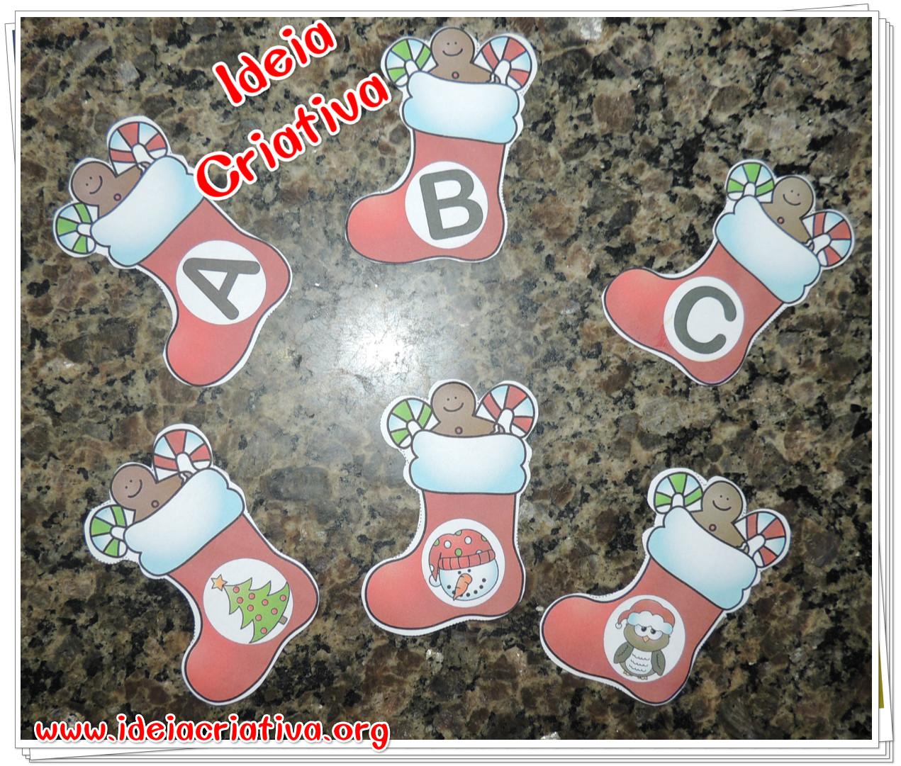 Alfabeto Meias Natalinas com Letras e Figuras para Imprimir Grátis