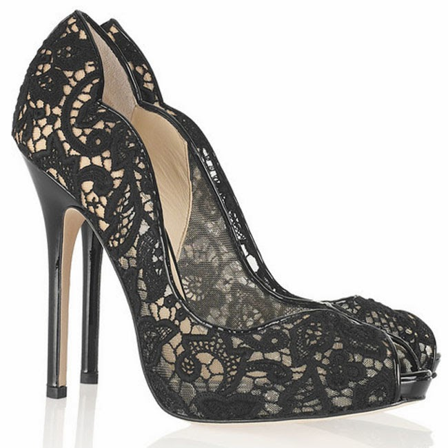 Jimmy choo black lace shoes