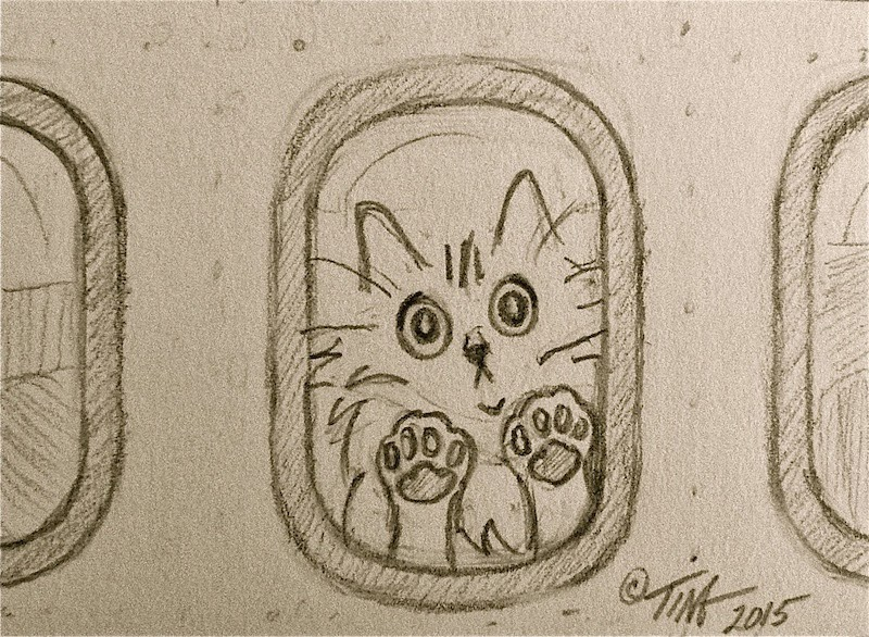 """Fraidy Cat Get on the Airplane"" 2.5"" x 3.5"" graphite on paper ©2015 Tina M Welter, illustration of my fear of flying featuring my 'Fraidy Cat avatar."