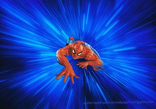 Spiderman Wallpaper Super Hero Climbing in Blue Vortex background