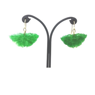 Harmony Design jade green butterfly earrings
