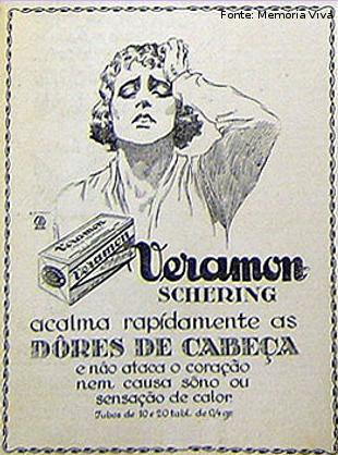 Propaganda do Veramon para combater a dor de cabeça nos anos 20.