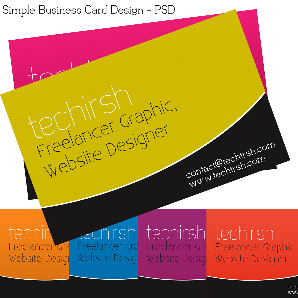 Download Free Multi color Business Card - PSD File BC1 : techirsh