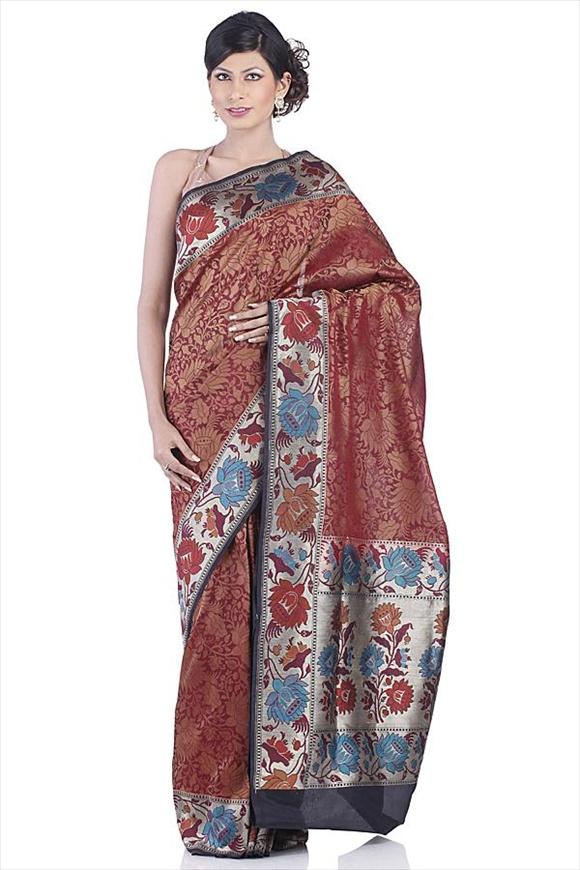 Cardinal Red Art Kattan Silk Banarasi Saree