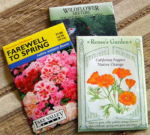 Three Seed Packets: Farewell to Spring, CA Poppy, Mixed Wildflowers
