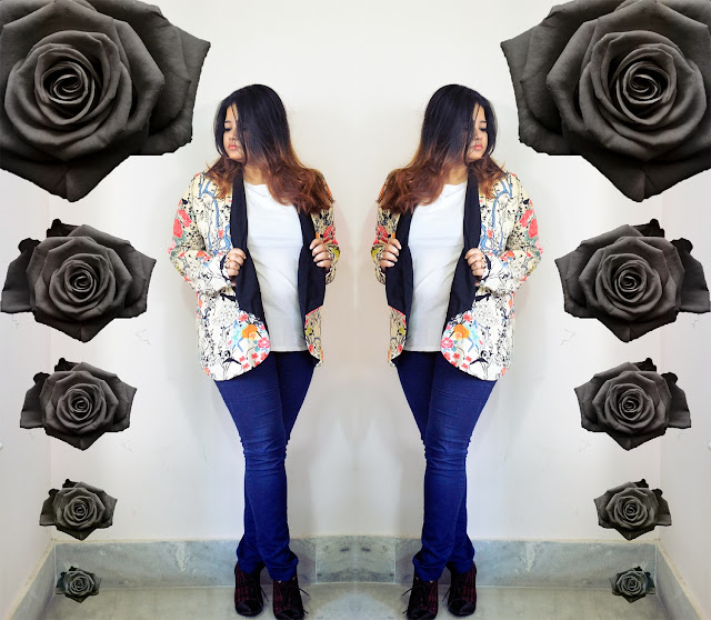black roses and floral blazer