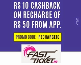 Mobile Recharge Rs. 10 Cashback on Rs. 50 – FastTicket