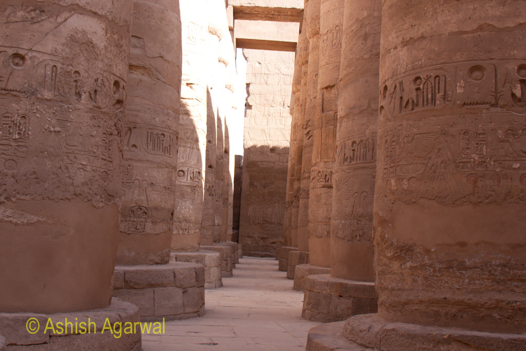 Gap between pillars inside the Hypostyle Hall in the Karnak temple in Luxor