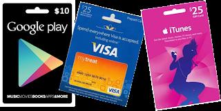 Tarjetas pre-pagas Google Play, Visa, iTunes