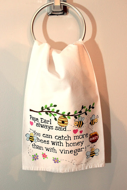 Bees and Honey Hand Painted Tea Towel