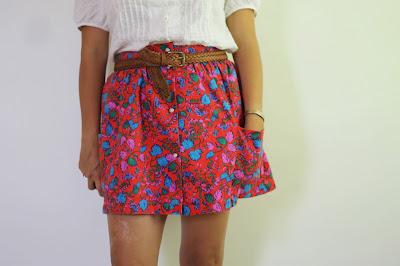 red floral vintage skirt