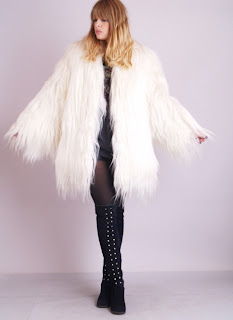 Vintage white rare monkey fur shaggy coat