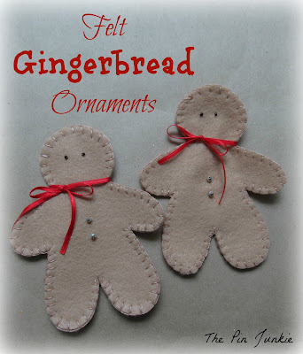 DIY felt gingerbread men Christmas ornaments