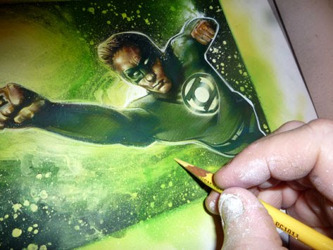 Green Lantern, original art by Jeff Lafferty