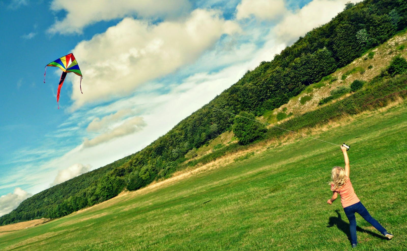 Flying a kite, Butser Hill