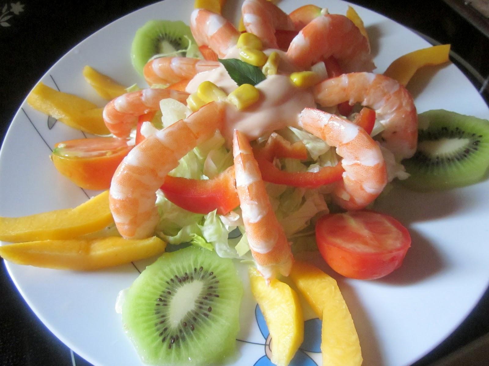 Ensalada de langostinos y fruta cocina con reina - Ensalada de langostinos ...