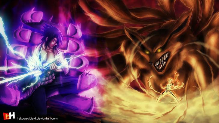 uchiha sasuke susanoo vs uzumaki naruto kyuubi kurama 9 tailed beast