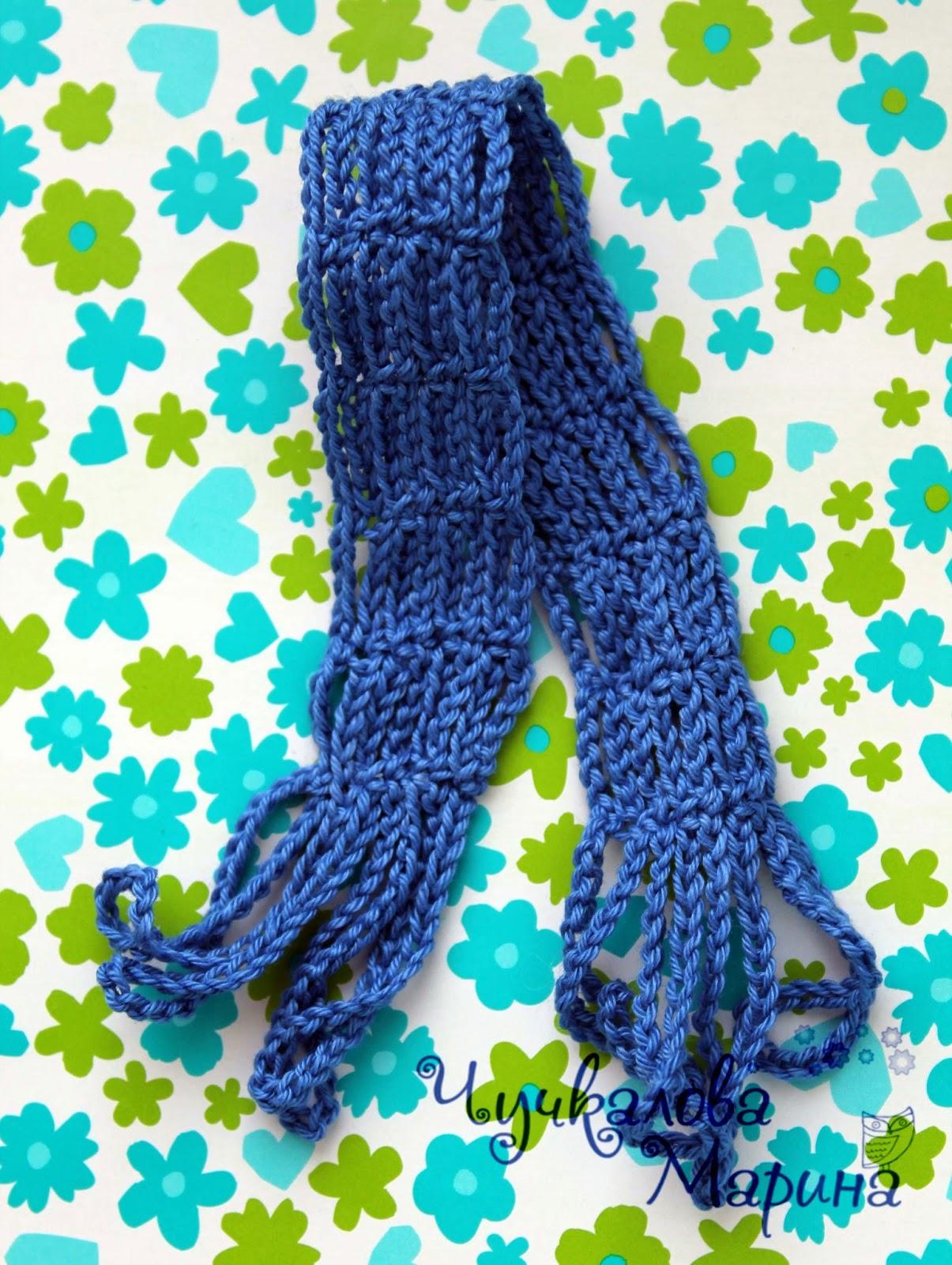 Вязание шарфа из колец