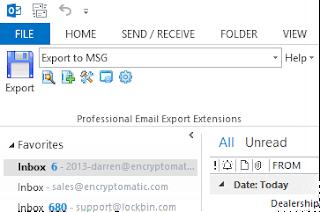 The MessageExport toolbar in Outlook 2013.