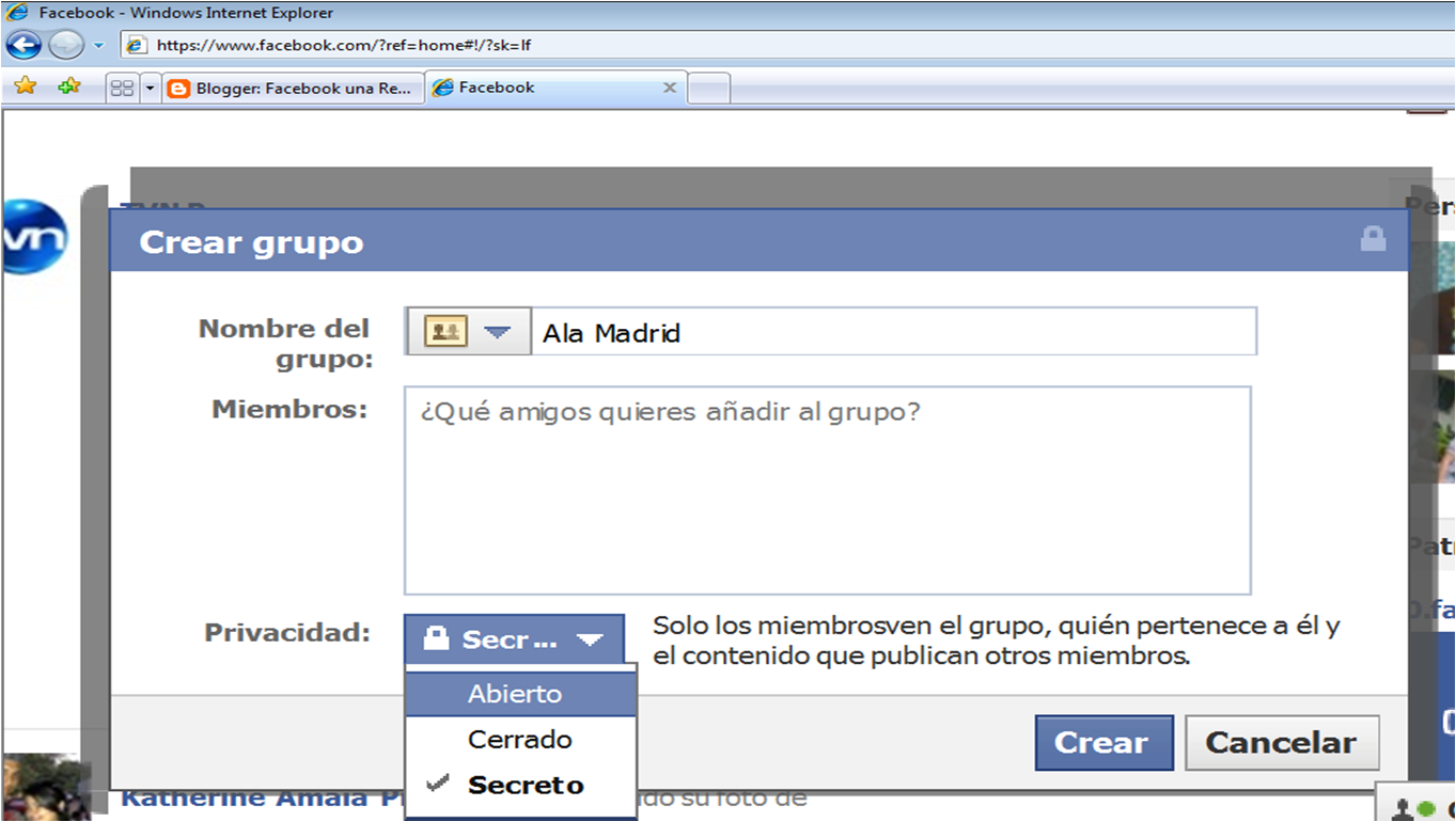 Facebook una red social for Grupo facebook