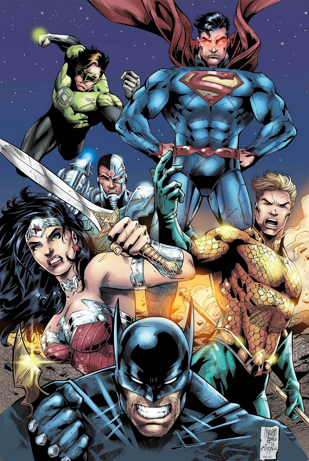 Justice League -Desenho (Pencil): Marcio Abreu - Arte-final (Ink): John Castelhano - Cores (Color): Aikau de Oliveira