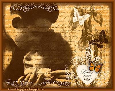 fondo vintage con pareja antigua, mariposa, flores y corazón
