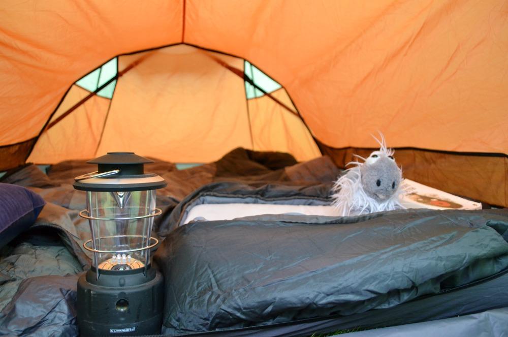 tent orange sleeping bag lamp