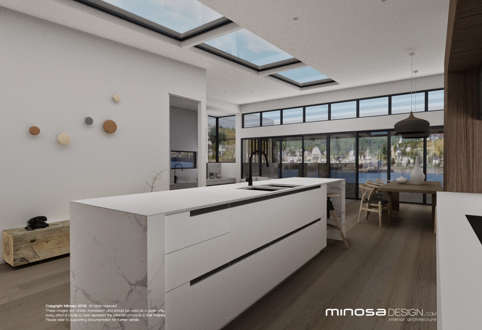 Minosa The Modernliving room Centred around the kitchen