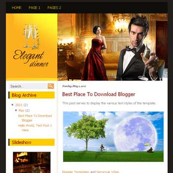 Elegant Dinner Blogger Template. template blog simple and minimalist design blog<br />
