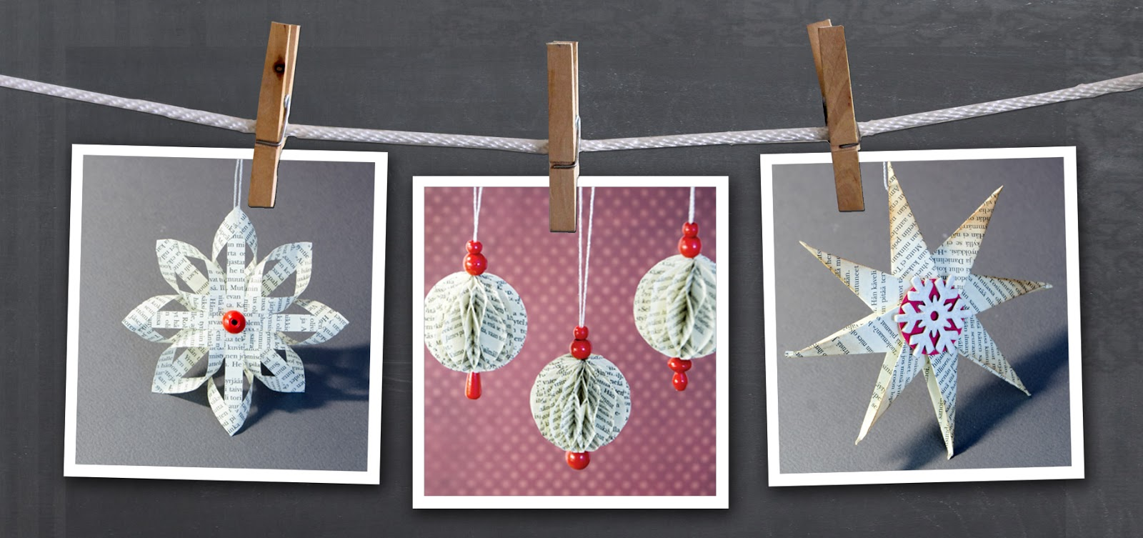 Christmas tree decorations from old book pages