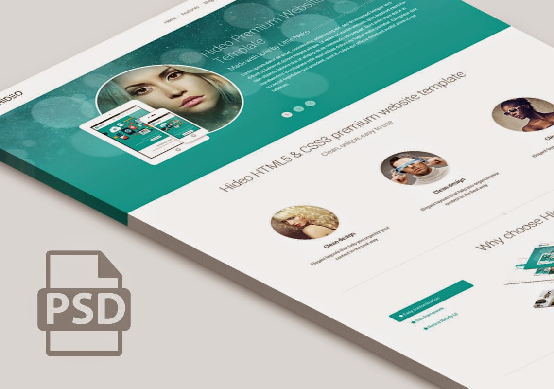 Free Home Page Psd Responsive Flate desain
